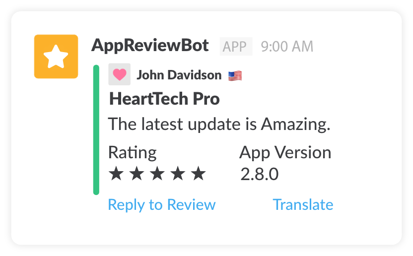 AppReviewBot Slack Message Format Example