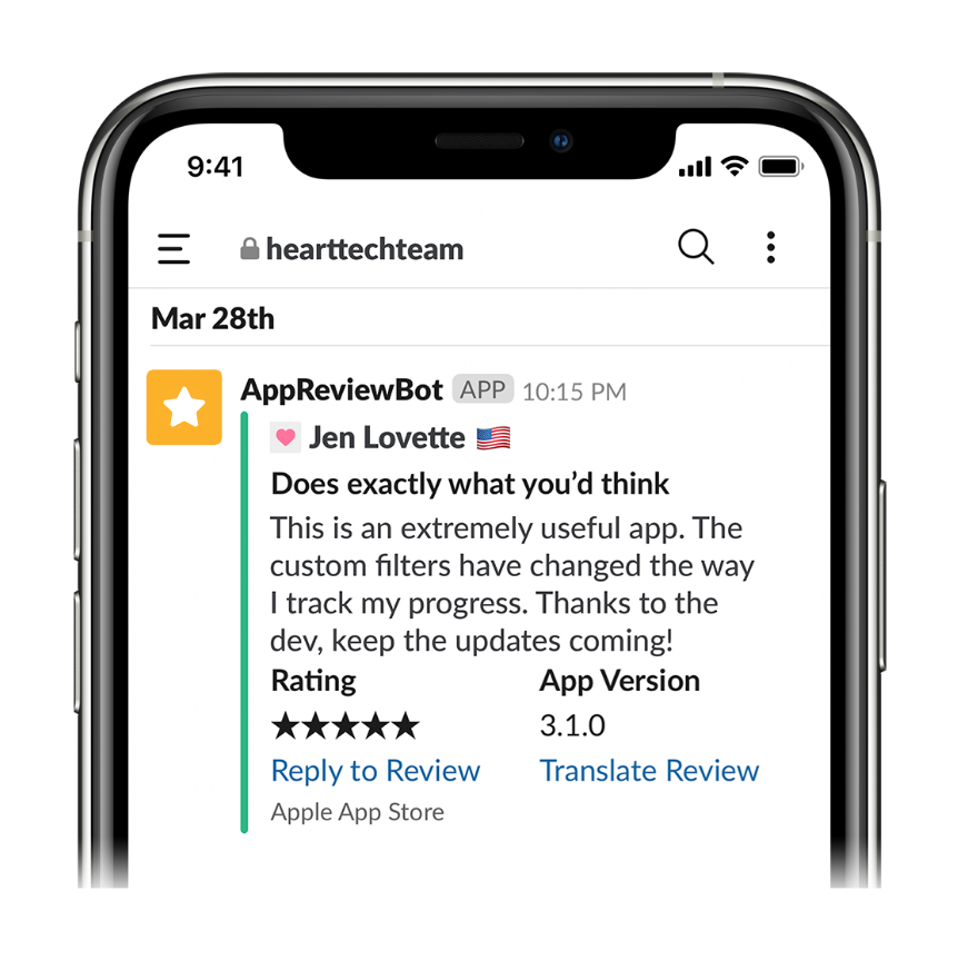 AppReviewBot Slack Review Message On Mobile Device